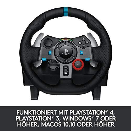 Bild 6: Logitech G29 Driving Force Gaming Rennlenkrad, Zweimotorig Force Feedback, 900° Lenkbereich, Leder-Lenkrad, Verstellbare Edelstahl Bodenpedale, PS4/PS3/PC/Mac - Schwarz