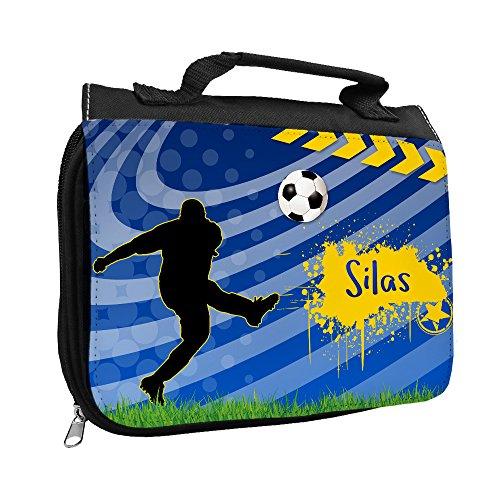 Kulturbeutel mit Namen Silas und Fußball-Motiv für Jungen | Kulturtasche mit Vornamen | Waschtasche für Kinder