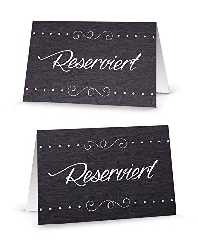 Tisch Die Auf Karten Dem (25 Stück edle klassische schwarz-weiße RESERVIERT-SCHILDER Tisch-Austeller Klapp-Karten kleine Kärtchen für die TISCH-Reservierung der Gäste - MIT JEDEM Stift beschreibbar! Reserviert-Aufsteller)