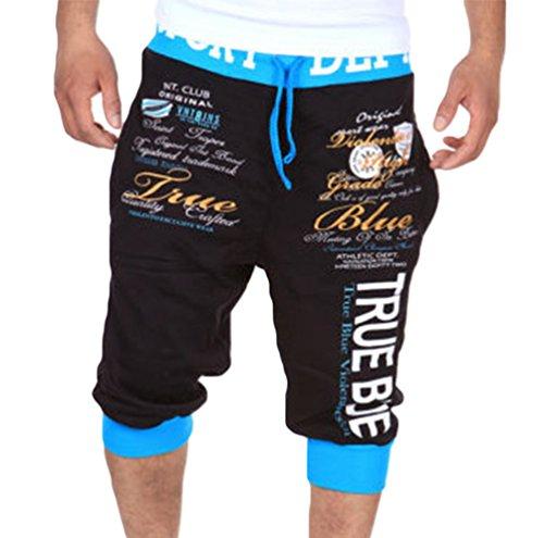 ZhiYuanAN Uomo Moda Pantaloncini Stampate Con Lettere Casual Allentati Stampato Shorts Con Coulisse Pantaloni Corti Da Jogging Sportivi Nero Blu