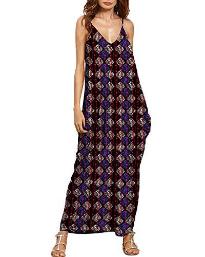 Auxo Eté Femme Maxi Dress Sexy Col V Mode Motifs Floral Eté Voyage Plage Bretelles Longue Robe 4