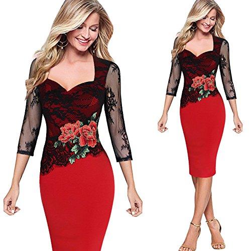 P&XiaoZhong Großer Spitzenstickerei-Kleid-Rock, der Kragen-Kragen-Bleistift-Rock-Kleid näht Red