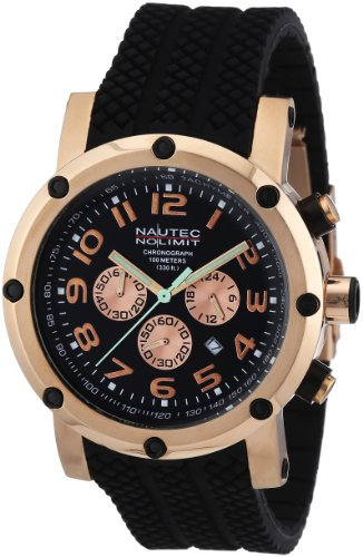 Nautec No Limit - FI QZ2/RBRGRGBK - Montre Homme - Quartz Chronographe - Chronomètre - Bracelet Caoutchouc Noir