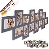 WOP ART Bilderrahmen Stripe I für 14 Bilder in 10x15cm grau Fotorahmen aus Holz/MDF inkl. Gratis Aufhängeset