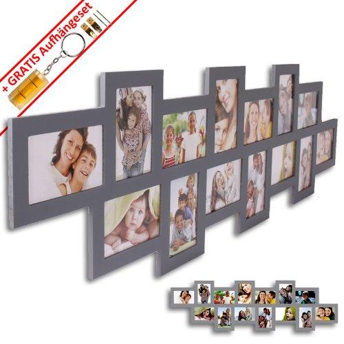 WOP ART Bilderrahmen Stripe I für 14 Bilder in 10x15cm grau Fotorahmen aus Holz/MDF inkl. Gratis Aufhängeset (Grau 8x10 Bilderrahmen)
