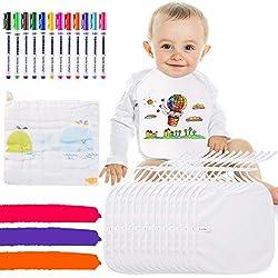 Lvelfe Baby Lätzchen zum Bemalen 14 Stück Weiße Baumwolle Sabber Lätzchen 12 Farben Marker Textilstiften und 1 Handtuch Wasserdicht Babylätzchen Klein-Kind Lätzchen für Babyshower Babyparty
