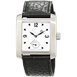 THEOREMA Unisex Leather Quartz Watch with Black Dial Analogue Display hand-wound TH-46PZ85B 3049We