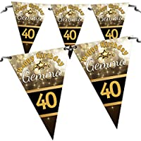 Personalised Black & Gold Happy Birthday Flag Banner Bunting N22-10 Flags inc ribbon 16th 18th 21st 30th 40th 50th ANY AGE