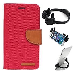 Aart Fancy Wallet Dairy Jeans Flip Case Cover for Nokia620 (Red) + Flexible Portable Mount Cradle Thumb OK Designed Stand Holder By Aart Store.