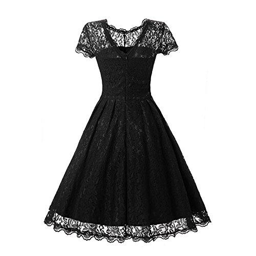 YaoDgFa Damen Kleider Spitze Abendkleid Festlich Kurzarm Knielang Cocktailkleid Partykleid Rockabilly Retro 1950er Sommer Schwarz