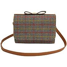 Longra Colore solido per donna Moda lana Materiale superiore per il tempo libero Plaid Pattern Hasp Mini Single Strap Shoulder Bag
