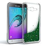 EAZY CASE GmbH Hülle für Samsung Galaxy J3 (2016) Schutzhülle mit Flüssig-Glitzer, Handyhülle, Schutzhülle, Back Cover mit Glitter Flüssigkeit, aus TPU/Silikon, Transparent/Durchsichtig, Grün