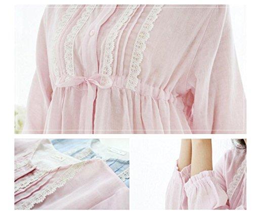 GSHGA Donne Sleepwear Sonno Gonna Estiva Pigiama Di Cotone Sottili Semplice E Dolce Vestito Casa Femminile Pink