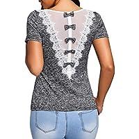 Kolylong の�� Femme Pull Top Chemise Tee Shirt, 2018 Printemps Été Filles O-Neck Blouse Solide Dames Décontractée Dentelle Top T-Shirt Manches Courtes avec Bowknot