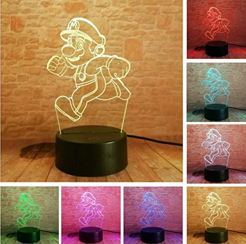 artoon Laufen Super Mario Bros Action Figure Spielzeug 7 Farben Ändern Dekor Led Usb 3D Touch Nachtlicht Home Party Geschenke ()