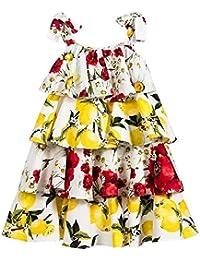FuweiEncore Tirantes de Faldas Florales de limón Vestido de niñas Partido Amarillo Niños Vestidos de cóctel