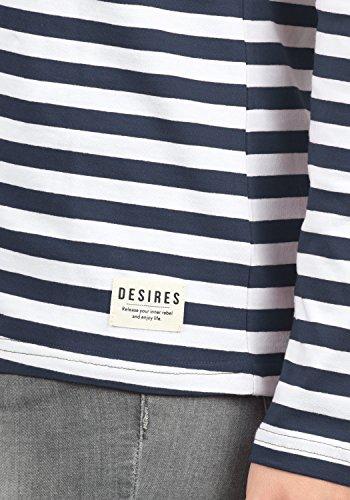DESIRES Mila Damen Longsleeve Langarmshirt mit Rundhals-Ausschnitt und Streifen-Optik Aus Hochwertiger Baumwollmischung Insignia Blue (1991)