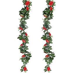 GoMaihe Roses Artificielles Deco, 2pcs x 2.4M Fleurs Artificiels Faux Roses en Soie et Lierre Plante Artificielle Interieur Exterieur Guirlandes de Roses pour Fête Noel Mariage Cuisine Jardin, Rouge