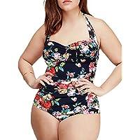 Aivtalk–Bikini, costume da bagno intero, a fiori stampati, per donne–taglia grande–XL XXL XXXL XXXXL XXXXXL–colore: Rosa/Nero