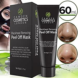 Blackhead Remover Mask - Peel Off Blackhead Mask By Camden Cosmetics - Natural Activated Charcoal Peel Off Black Mask - Deep Skin Blackhead Cleanser Purifying Mask To Remove Dull Cells, Blackheads & Impurities For Radiant Face - Blackhead Extractor - Black Mud Cream for Face, Nose, Acne, Forehead