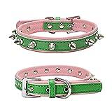 Balock Schuhe Verstellbares Hundehalsband,Strapazierfähiges,Scharfes, Verziertes Lederhalsband, für große Dog Pet Pitbull Mastiff (Grün, S)