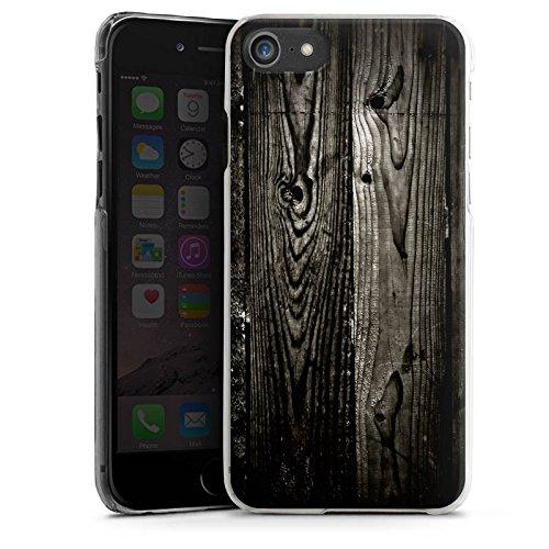 Apple iPhone X Silikon Hülle Case Schutzhülle Ebenholz Look Holz Schwarz Holzwand Hard Case transparent