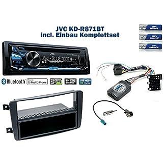 NIQ-Mercedes-C-Klasse-W203-Autoradio-Einbauset-Schwarz-inkl-JVC-KD-R871BT-und-Lenkrad-Fernbedienung-Adapter