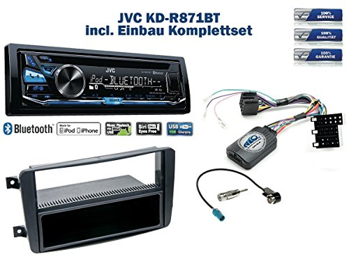 e (W203) Autoradio Einbauset *Schwarz* inkl. JVC KD-R871BT und Lenkrad Fernbedienung Adapter ()
