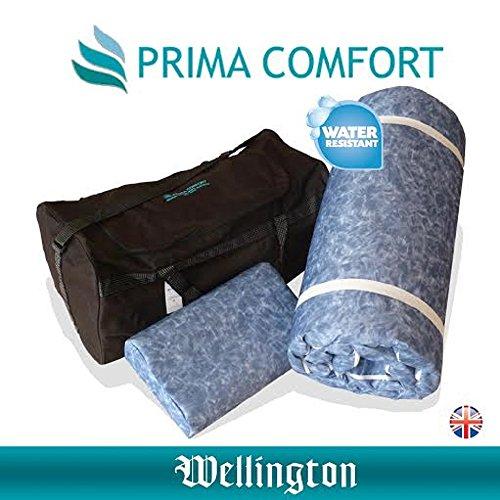 Wellington-prima Komfort Travel Memory Foam wasserabweisend Matratzenauflage Plus Kissen 7 Tage Geld zurück Garantie. inkl. Memory Foam Reisekissen und Reisetasche. (Matratze 190 cm x 70 cm x 3,5 cm)