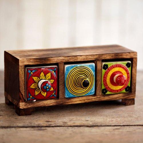 Paper High Contenitore tradizionale indiano ceramica dipinta mano con 3 cassetti 205 x 90 x 80