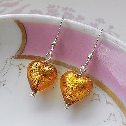 Diana Ingram topaz gold Murano glass small heart (13mm) earrings