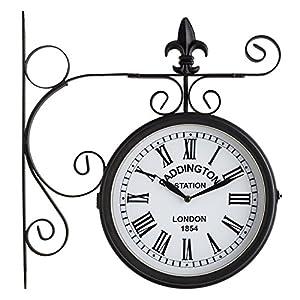 blumfeldt paddington vintage steel garden wall clock front and back side
