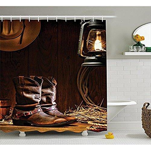 H&S Western Dekor Duschvorhang, traditionelle Leder Arbeiten Roper Stiefel mit Sporen Reiten in Vintage American Scheune, Stoff Badezimmer eingerichtet mit Haken, braun 72