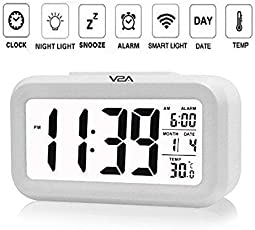 V2A Plastic Smart Digital Alarm Clock with Automatic Sensor Backlight, Snooze Alarm, Date and Temperature for Home and Office (White)