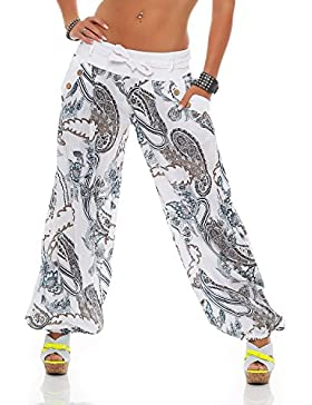 ZARMEXX Mujer Bloomers Haremshose Summer Trousers Pluder Aladin Beach Pantalones Ornamento-Print Cotton Trousers...