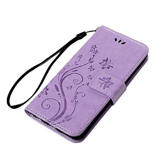 iPhone 6 Plus / 6S Plus Hülle (5,5 Zoll) Wallet Case YOKIRIN Schmetterling Blumen Muster Flipcase Hülle Schutzhülle PU Leder Brieftasche Ledertasche im Bookstyle für iPhone 6 Plus / 6S Plus Tasche in  Hell Lila