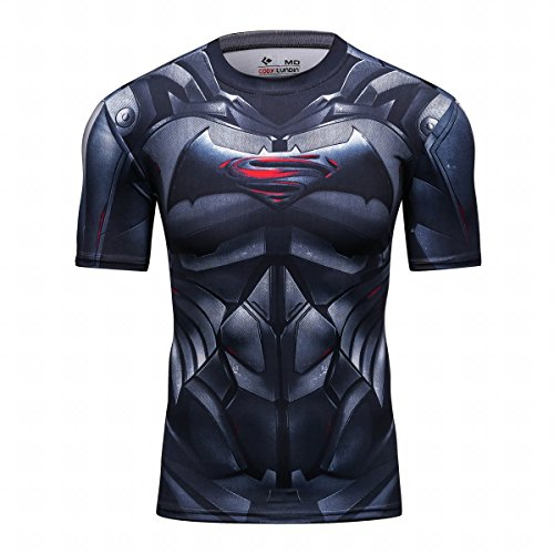 Cody Lundin® Herren Superhelden T-Shirt Kurzarm Shirt Fitnesstraining Joggen Kompression Shirt gedruckt (Superhelden Strumpfhosen)