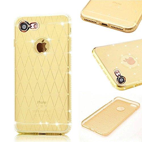 MOMDAD iPhone 7 Custodia iPhone 7 4.7 Pollice TPU Gel Silicone Case Cover iPhone 7 Trasparente Cristallo Chiaro Bumper Soft Custodia Diamant-oro