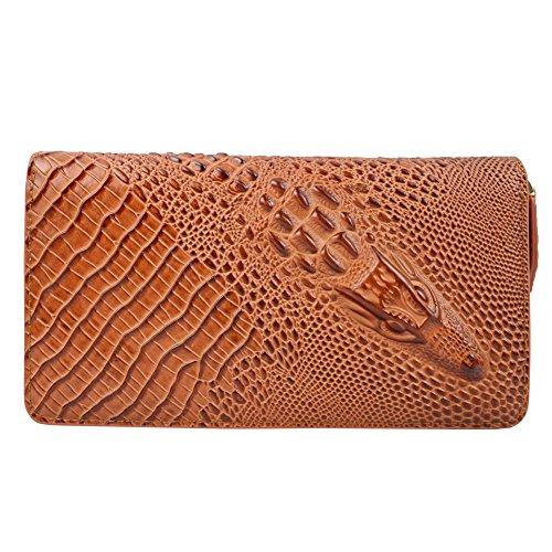 Preisvergleich Produktbild DJ-16005 Frau Leder Geldbörse / Handtasche / Clutches Perfekte Brieftasche Brown Mit Rei Verschluss Gold Und Minimalistische Mode
