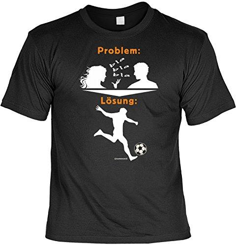 Lustiges Fußball Deutschland T-Shirt mit Baseball Cap, 2er Set, Fanartikel - Problem: bla bla bla Lösung: Fußball! Schwarz