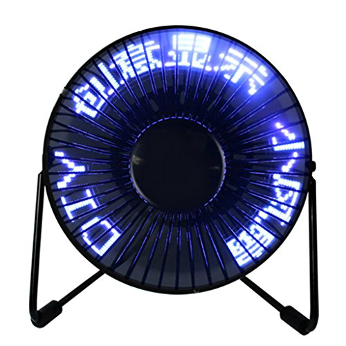 yunso 360 ° Rotation USB Programmierbare LED Display Schreibtisch Fan DIY Lüfter für Home & Office PC programmierbar