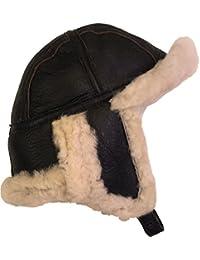 UNICORN Réal Peau de mouton Cuir unisexe fourrure hiver chapeau aviateur bouchon trappeur earflap Brun/Crème fourrure #3H