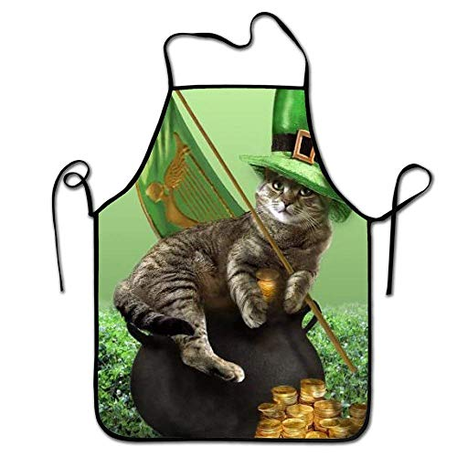 Cap socks St.Patrick's Hat Cat Sitting Pot of Gold Coins Kitchen Aprons Long Tie Adjustable Bib Apron Adult's Aprons for Cooking Baking Griling Mesh Back Team Hat