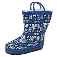 Unbranded Boys Childs Kids Toddler Space Alien Robot Planets Stars Wellington Boots Wellies Size 7-11