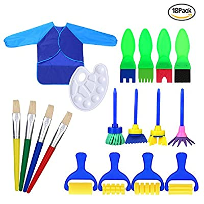 18 Stück Malerei Pinsel Schwamm Zeichnen Pinsel Set mit Palette und Schürze Malerei Werkzeuge von Hicarer bei TapetenShop