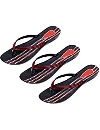 Indistar Combo Pack Of 3 Pair Of Stylish Women Sandal-Black/Red