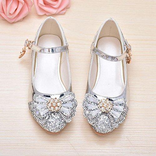 Wuyulunbi@ Girls' scarpe da ballo latino scarpe da ballo Argentea