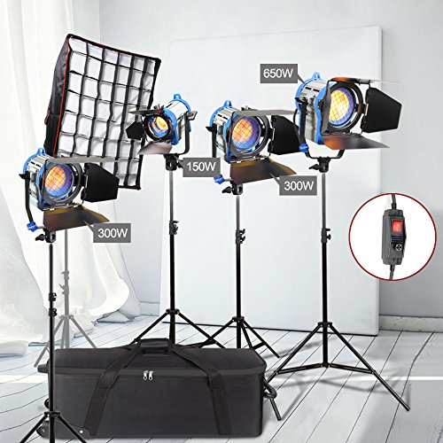 Alumotech Dimmer Eingebauter Fresnel Tungsten 150Watt + 2X300Watt + 650Watt + 4 x Luftgepolsterter Standfuß + Softbox 1400W Spotlight Halogenlampe Studio Video Licht Kit für Kamera Photographic Lighting Compatible Bulb (Arri Dimmer)