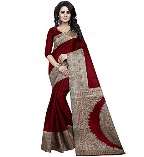 FashionFort Women's Bhagalpuri Cotton Maroon Color Saree With Blouse Piece (Maroon)