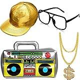 meekoo Hip Hop Kostüm Kit Hut Sonnenbrille Gold Kette 80s/ 90s Rapper Zubehör (Gold Baseball Mütze, Boom Box)